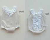 ON SALES-Newborn Photography Prop-Newborn Cream Polka Dots Short Romper-Newborn Rompers-Newborn Girls Outfits-Newborn Props-Ready To Ship