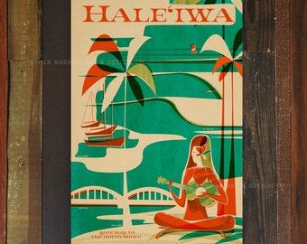 Haleiwa Wahine - 12x18 Retro Hawaii Travel Print