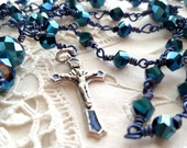 Rosary in Peacock Blue, Hand Wrapped Rosary, Confirmation Rosary, My First Adult Rosary, free shipping