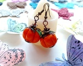 Garage Sale Earrings, Earrings, Handmade Earrings, Pumpkin Earrings, Dangle Earrings, Orange Earrings, Free Shipping