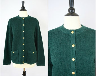Vintage dark green boucle cardigan with gold buttons