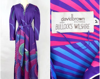 Vintage David Brown California for Bullock's Wilshire psychedelic caftan / purple graphic lounge dress