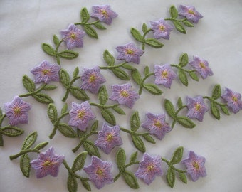 5  EMBROIDERED FLOWER - Iron on in PURPLE