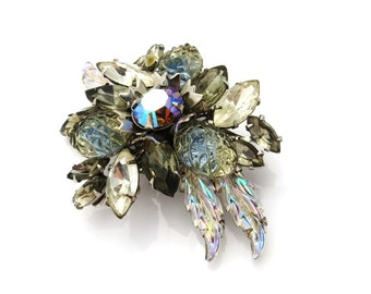 Vintage Rhinestone Flower Brooch Silver Gray Blue Clear Givre Glass Flower Pins Irridescent Opal Marquise Shaped Stones Leaves 1960s Jewelry