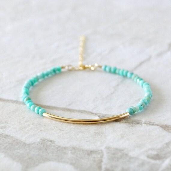 Amazonite & tube bar beaded bracelet / 14k gold filled