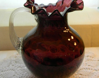 Vintage Ruffled Top, Amethyst, Blown Glass, Water Pitcher