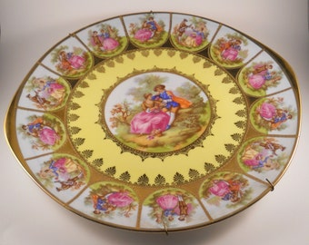 Victorian Love Story Cake Plate Signed Gold Rare Fragonard Decorative Plate Courting Couple Plate