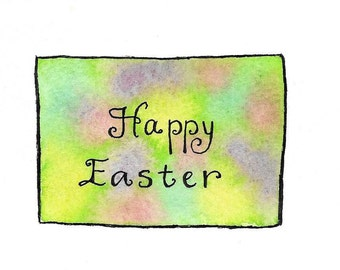 Happy Easter Card Watercolor Original Hand-Painted Hand-Lettered