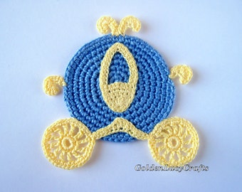 CROCHET Cinderella Carriage Applique, Coach, finished item