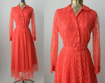 Vintage Dress, 1950s Lace Dress, Pink Lace Gown, Vintage Lace Gown, Retro 50s Dress, Lace Maxi Dress, Vintage Maxi Dress, 50s Red Lace Gown