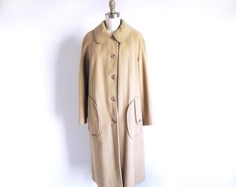 Vintage 60s Wool Coat, Tan Wool Coat, Vintage Winter Coat, Brown 1960 Coat, Boston Coat, Union Made in the USA