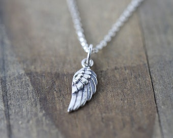 Tiny Angel Wing Necklace / Gift for Women / Petite Sterling Silver Mini Wing Pendant Necklace / Everyday Jewelry by burnish