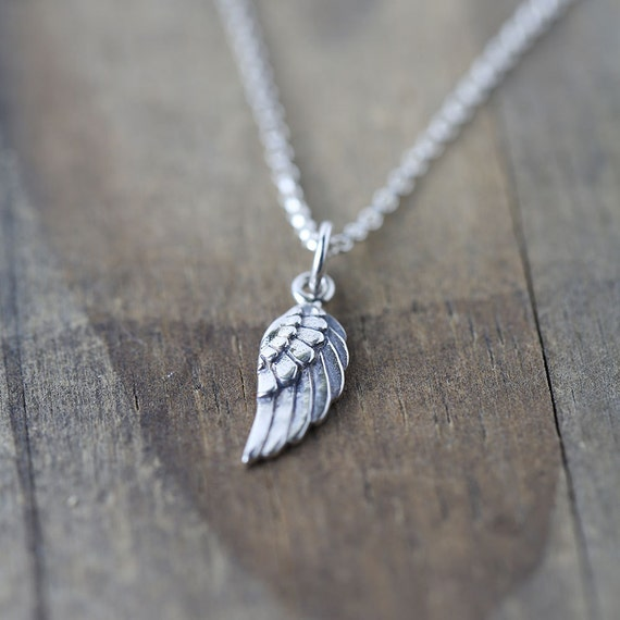 SALE - Tiny Angel Wing Necklace / Gift for Women / Petite Sterling Silver Mini Wing Pendant Necklace / Everyday Jewelry by burnish