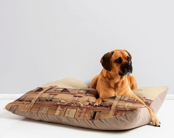 Trendy Pet Bed ~ Paris Je T'aime pet bed, waterproof dog mattress, ultra plush dog bed, fur baby cushion, portable pet bed, Paris pet decor