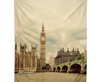 Wall Tapestry ~ London Wall Hanging, Big Ben large decoration accessory, best gift idea for her, unique summer home decor, trendy dorm decor
