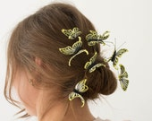 Yellow Butterfly Hair Pins Set Wholesale Hairpin Accessory Decoration Butterfly Hair Piece Headpiece Bridal Wedding Birthday Hair Dress