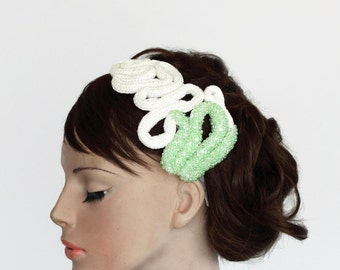 Unusual Bridal Headband, Hair Fascinator, Unconventional Off White, Mint Green Beaded. Handmade. One of a Kind Item.