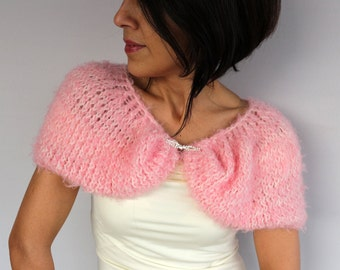 Pink Bridal Bolero, Cozy Fall Shrug, Stole Wrap, Bridesmaid Shawl Knit Winter Wedding Dress Cover-up Evening Cape Formal Faux Fur Stole