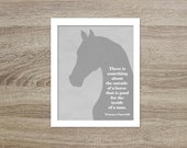 Digital Art Cowboy Poster Something About the Inside of a Horse - Western Cowboy Horse Quote Print - Pale Beige Gray Farmer Horse Lover