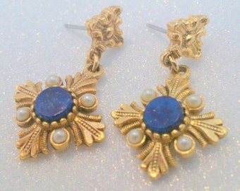 Vintage Gold Tone Faux Lapis and Pearl Drop Earrings
