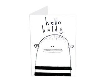 Dad Birthday Card, Hello Baldy Card, Miniature Greeting Card & Tiny Envelope, Bald Head Funny Card for Dad, Funny Birthday Card for Husband