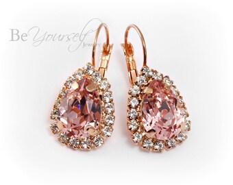 Blush Bridal Earrings Rose Gold Teardrop Bride Earrings Swarovski Crystal Vintage Rose Wedding Jewelry Pale Soft Pink Pastel Bridesmaid Gift