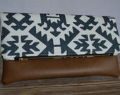 Foldover Clutch, Blue Tribal Clutch Purse, Faux Leather Aztec Clutch, Zippered Clutch, Kindle Case, Gift for Her