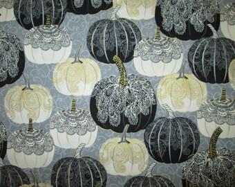 Pumpkins Spider Webs Gold Thread Decorative Cotton Fabric Fat Quarter or Custom Listing