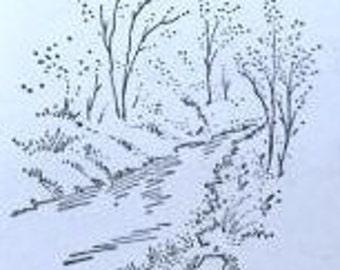 Overstock SALE: Unmounted Stamp River Scene