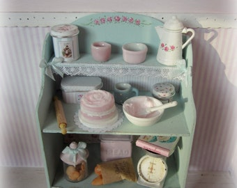 """Furniture """"kitchen"""" with accessories for dollhouses. scale 1.12"""