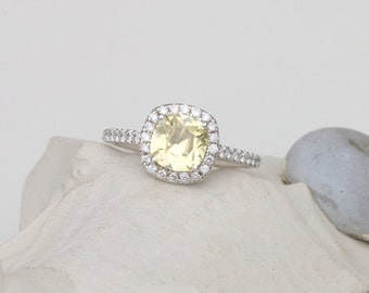 Cushion Yellow Sapphire Engagement Ring, Diamond Halo Gemstone Engagement Ring