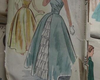 Vintage Sewing Pattern 1950s Fancy Formal Prom Dress