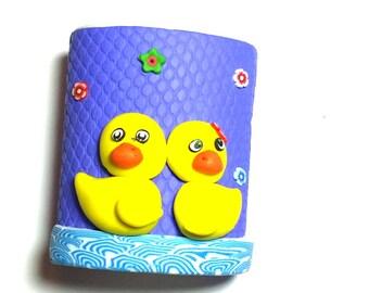 New Handmade Polymer Clay Fimo Yellow Ducks Pencil Holder