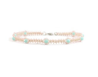 Mint Alabaster Crystal Anklet - Bead Ankle Bracelet - Seed Bead Jewelry - Summer Anklet - Foot Jewelry - Beaded Jewelry