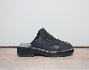 8 C | Women's Loafer Style Mules in Black Leather Nailed Clogs