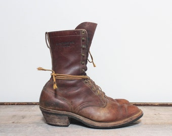11 D | Men's Vintage Hawthorne Boots Leather Packer Boot Lace Up Boot