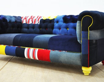 JEAN PATCH - denim chesterfield patchwork sofa