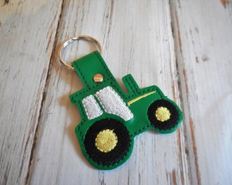 Farm Green and Yellow Tractor Key Chain Key Fob Snap Tab Backpack Zipper Pull