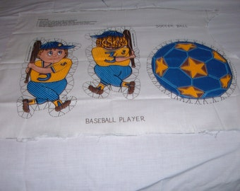 Vintage Children's Fabric Panel to Make a Doll or Pillow of a Boy Baseball Player
