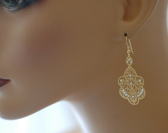SALE - Dangle Earrings, Gold Filigree Crystal Earrings, Gift for her, Gold filled Filigree Earrings, Light weighted earrings, Anti tarnish