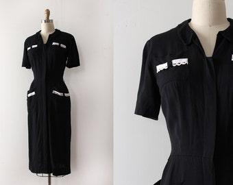 vintage 1950s dress // 50s black dress with white details