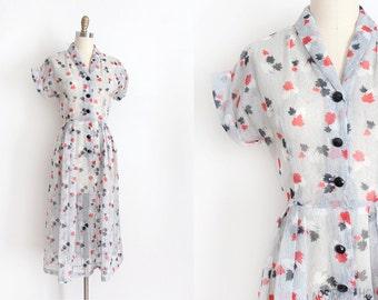 vintage 1950s dress // 50s sheer little leaves dress