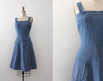 vintage 1970s dress // 70s blue day dress
