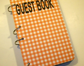 Orange Gingham Guest Book, Rustic Birthday, Barnyard Party, Sign in Book, Barnyard Baby Shower, Rustic Party