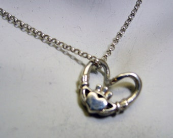 Sterling Silver Heart Shaped Cladagh Pendant and Chain, Vintage