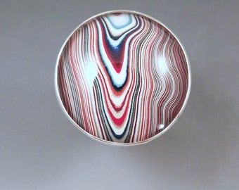Fordite- Detroit Agate- River Rouge- Groovey Colors- 1960's Fordite- Michigan Made- Hammered Sterling Silver Ring