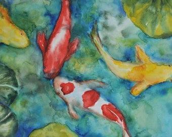 Koi pond- Watercolor painting on paper
