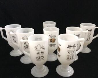 Vintage 1960, Milk Glass Pedestal Coffee Mugs.  Vintage eyewear designs.  Mid century modern, Danish Modern, Eames era.