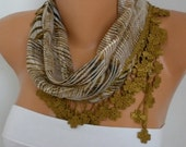 Olive Green Zebra Print Cotton Scarf Christmas Gift Shawl Cowl with Flower  Edge Gift Ideas For Her Women Fashion Accessories  - fatwoman