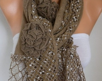 Milky Brown Floral Knitted Scarf,Winter Scarf, Shawl Oversized Wrap Bridesmaid Gift Ideas For Her Women Fashion Accessories